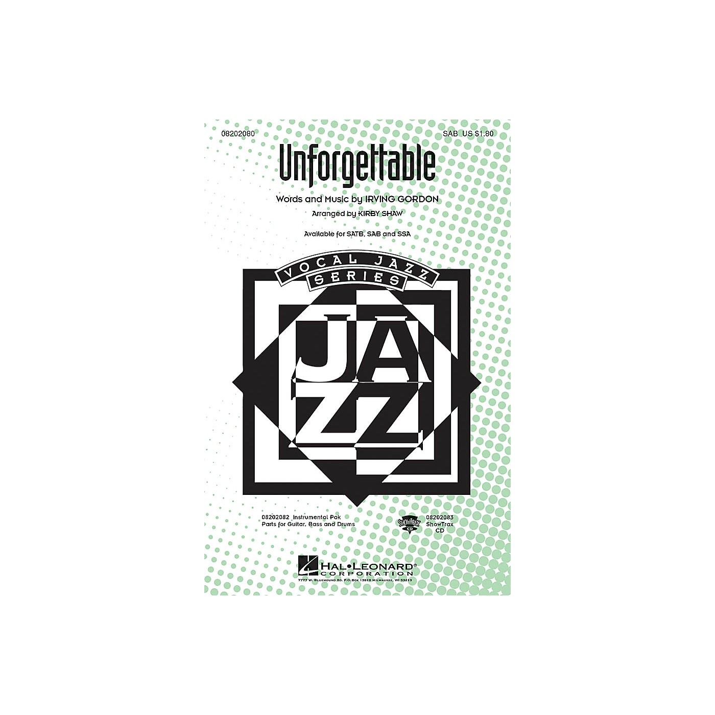 Hal Leonard Unforgettable SAB arranged by Kirby Shaw thumbnail