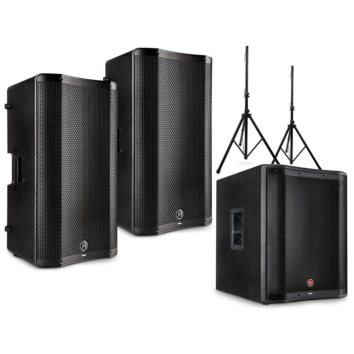 Harbinger VARI 4000 Series Powered Speakers Package with V2318S Subwoofer and Stands thumbnail