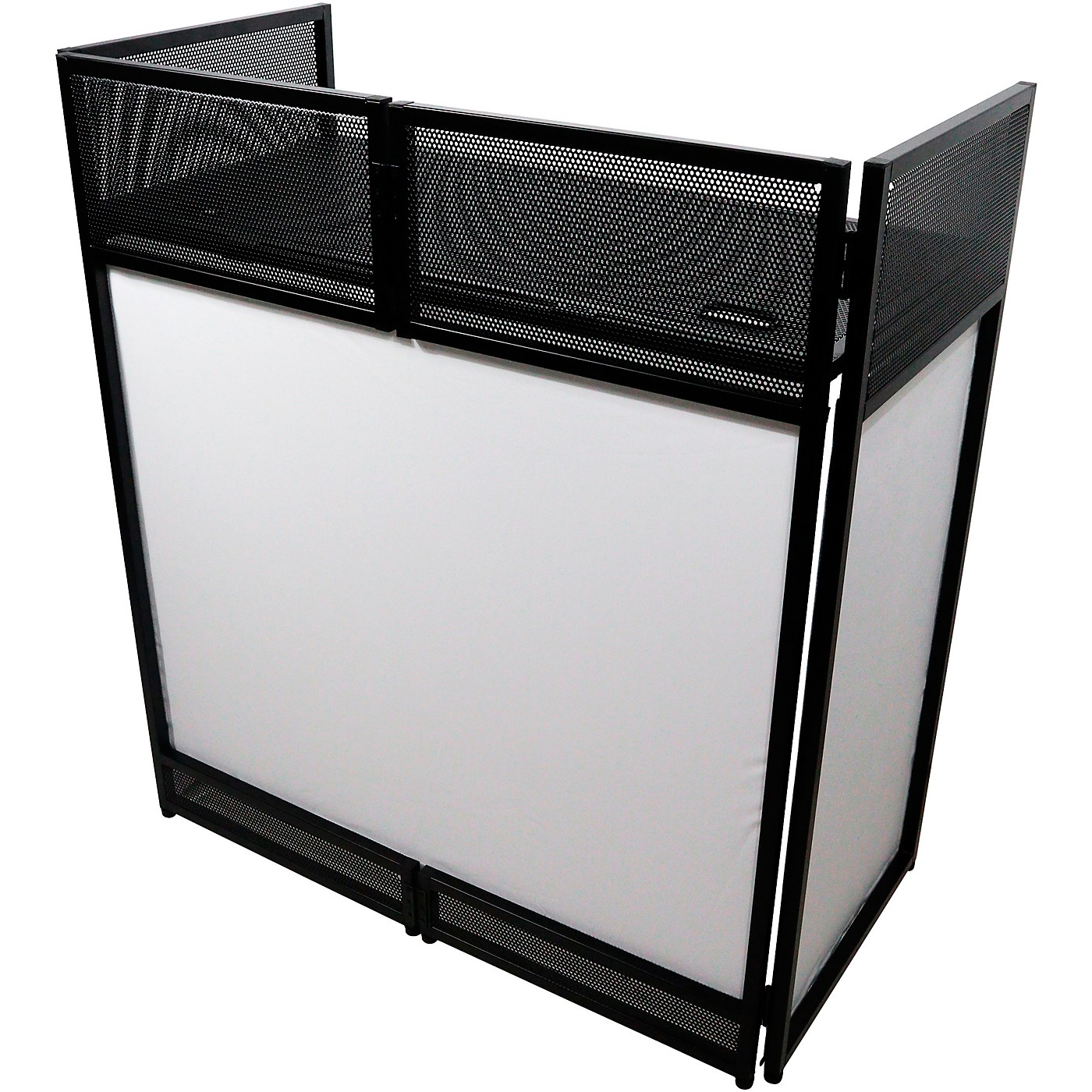 ProX VISTA DJ Booth Facade Table Station with White/Black Scrim kit and Padded Travel Bag thumbnail