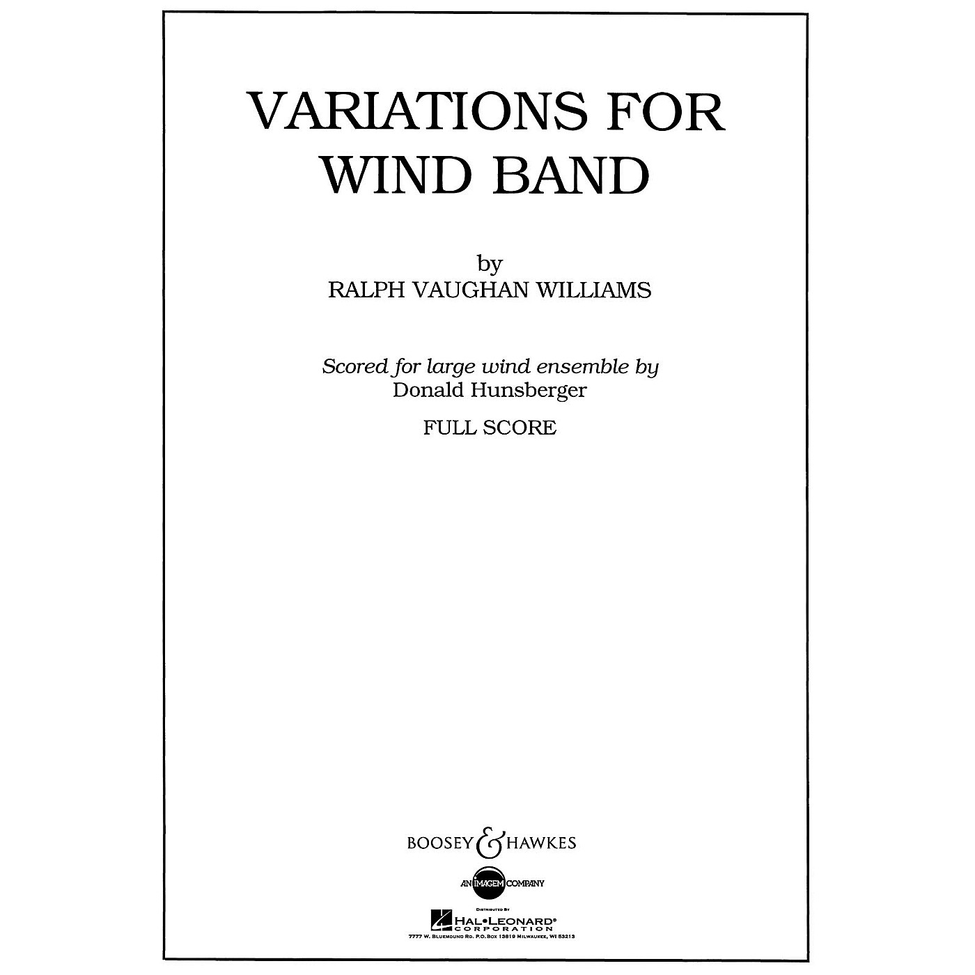 Boosey and Hawkes Variations for Wind Band Concert Band Composed by Ralph Vaughan Williams Arranged by Donald Hunsberger thumbnail