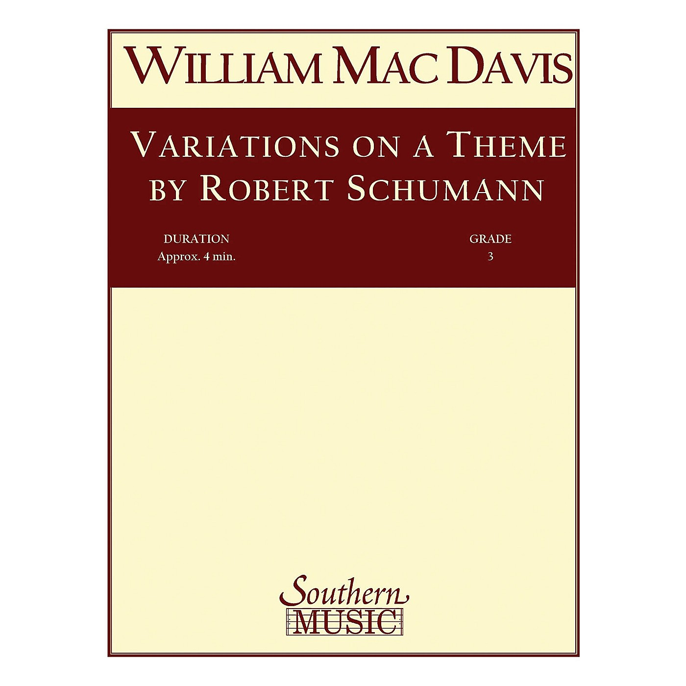 Southern Variations on a Theme by Robert Schumann Concert Band Level 3 Composed by William Mac Davis thumbnail