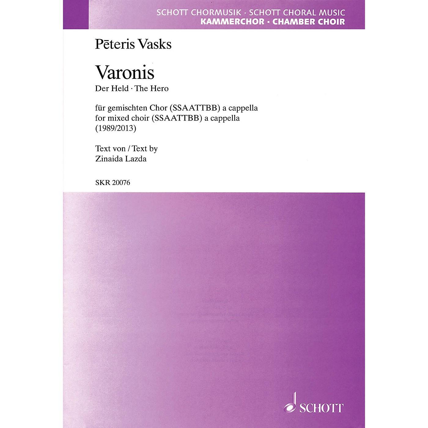 Schott Varonis (The Hero) (SATB divisi a cappella) SATB Divisi Composed by Peteris Vasks thumbnail