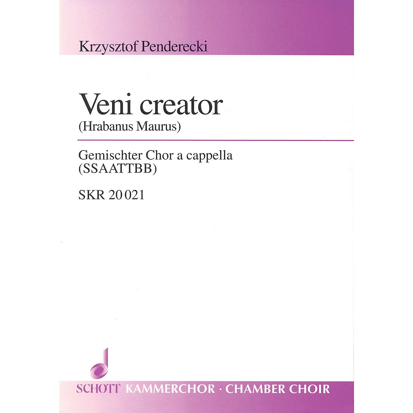 Schott Veni Creator (for Mixed Choir (SSAATTBB) - Choral Score) Composed by Krzysztof Penderecki thumbnail