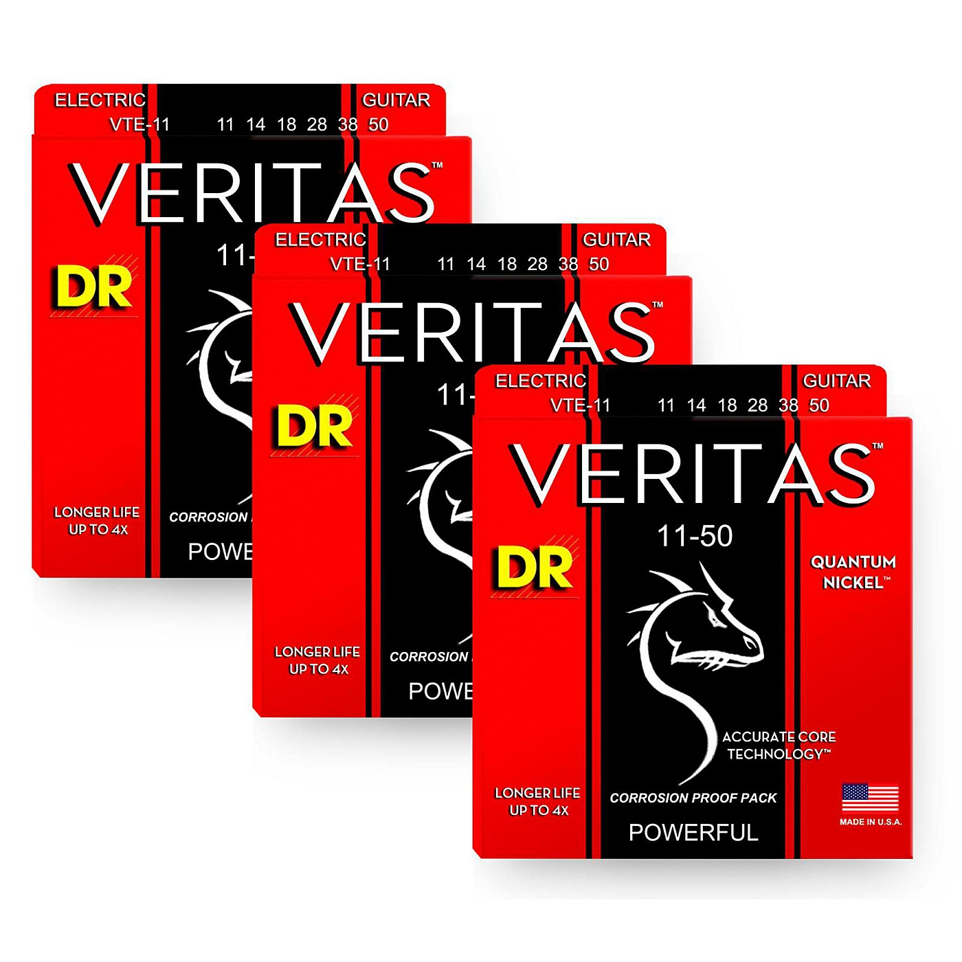 DR Strings Veritas - Accurate Core Technology Heavy Electric Guitar Strings (11-50) 3-PACK thumbnail