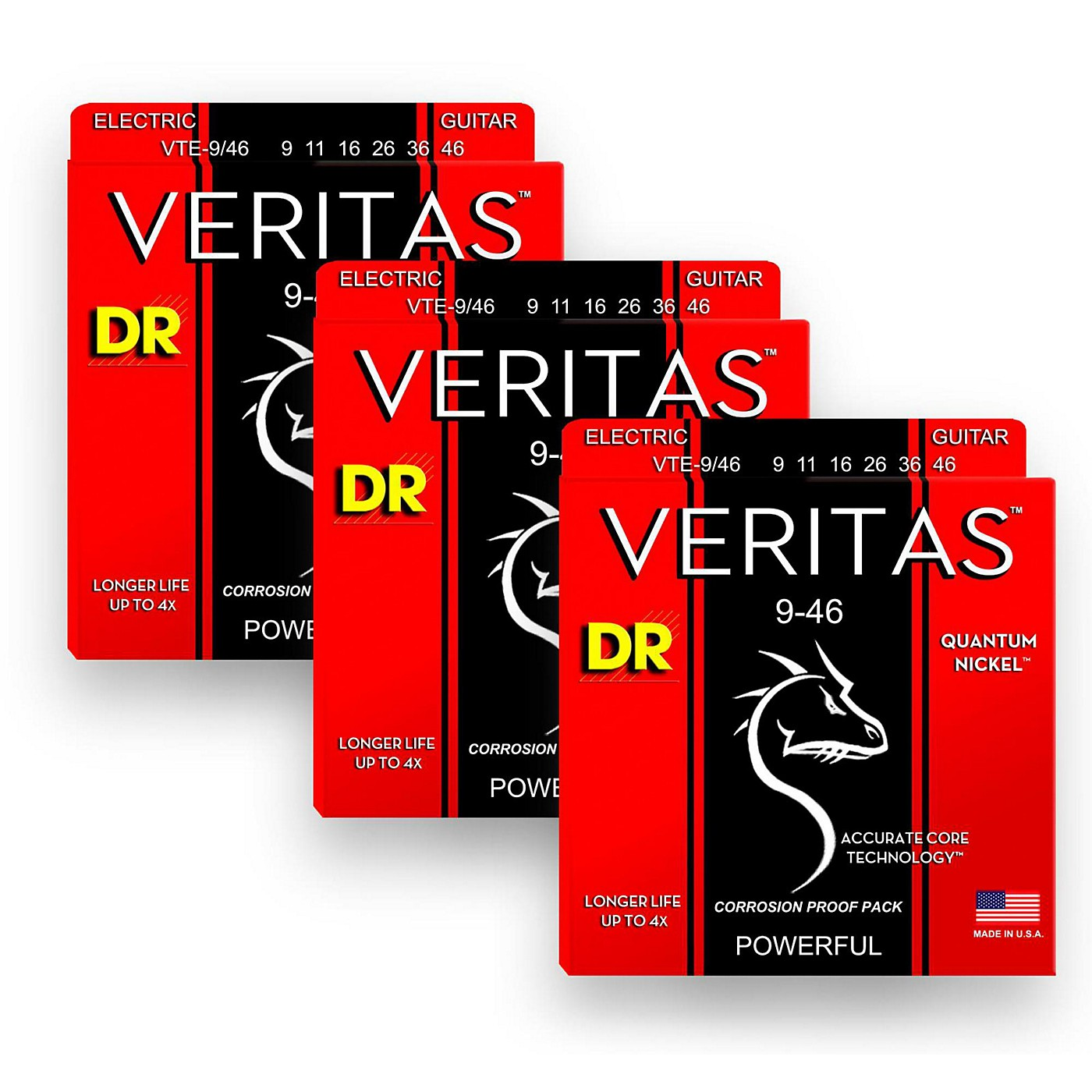 DR Strings Veritas - Accurate Core Technology Light and Heavy Electric Guitar Strings (9-46) 3-PACK thumbnail