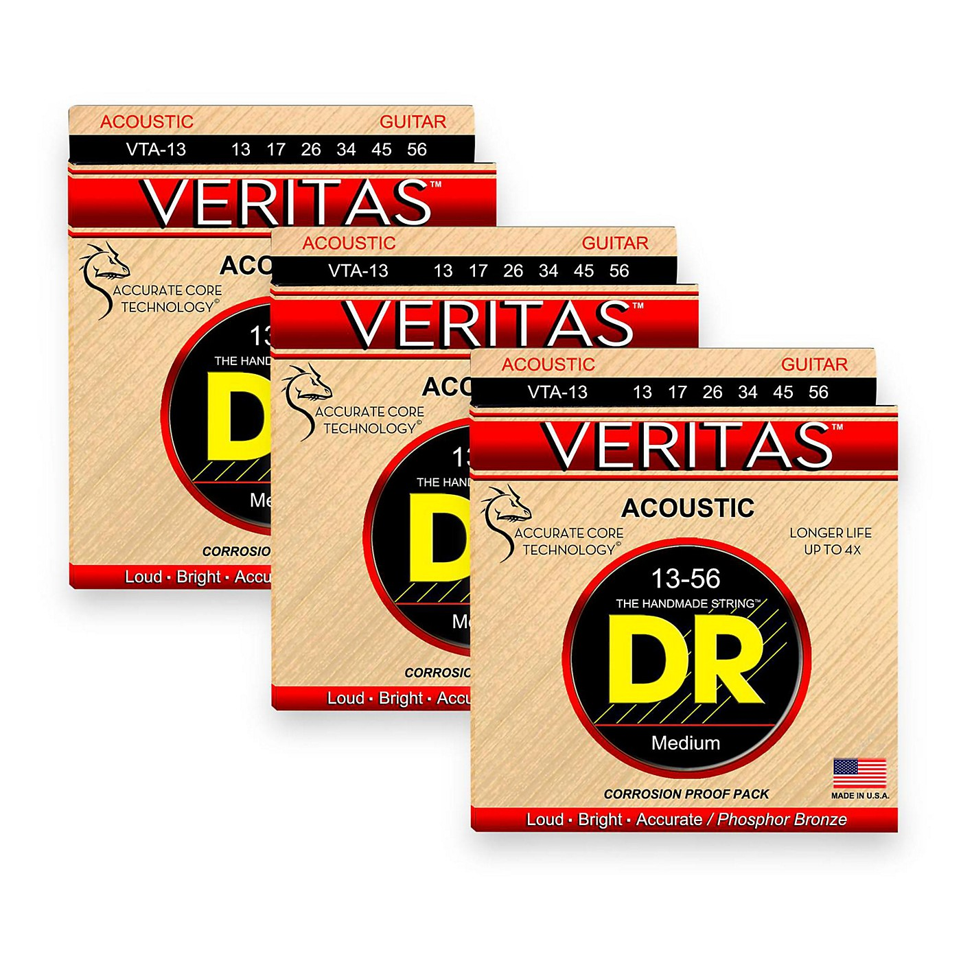 DR Strings Veritas - Perfect Pitch with Dragon Core Technology Light Acoustic Strings (13-56) 3-PACK thumbnail