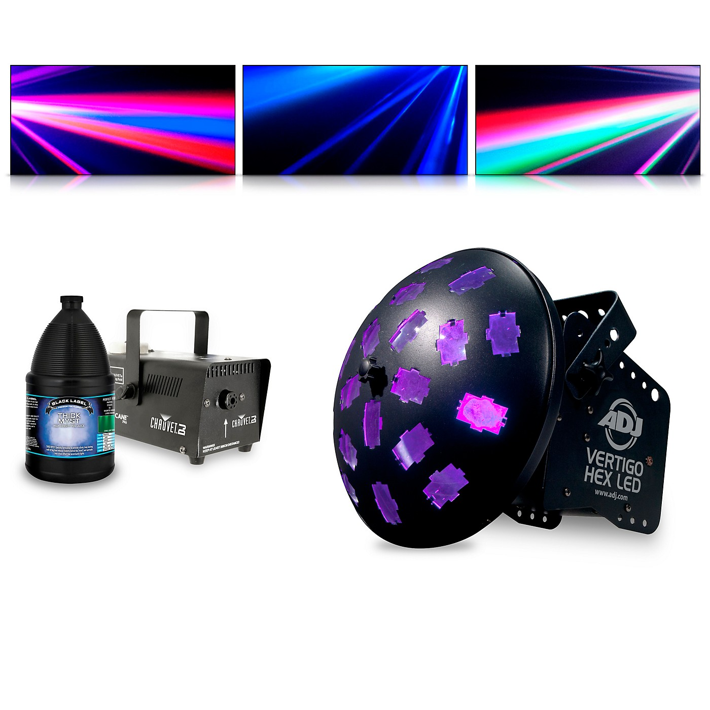 American DJ Vertigo Hex with Hurricane 700 Fog Machine and Juice thumbnail