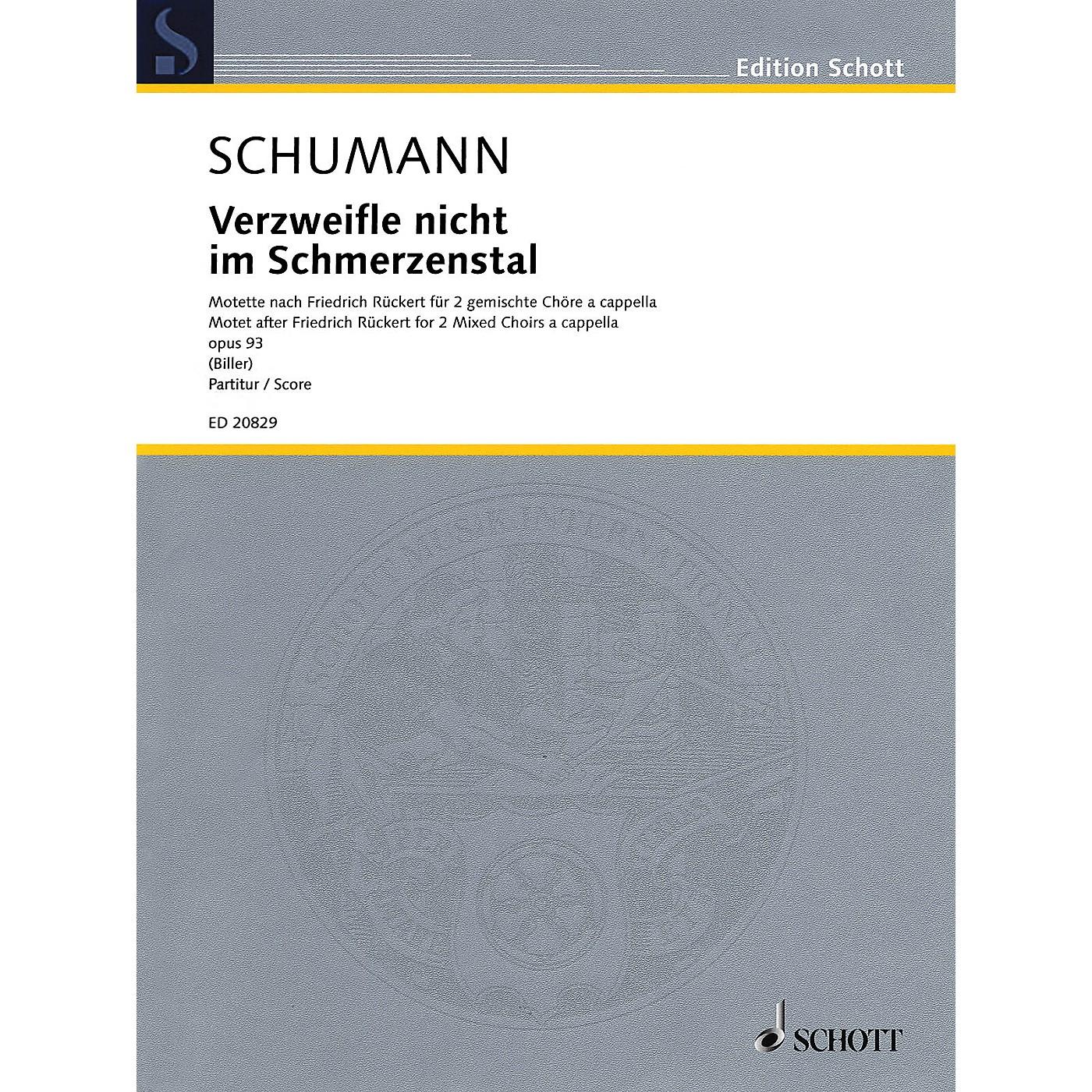 Schott Verzweifle nicht im Schmerzenstal Op. 93 SSAATTBB Composed by Schumann Arranged by Georg Christoph Biller thumbnail