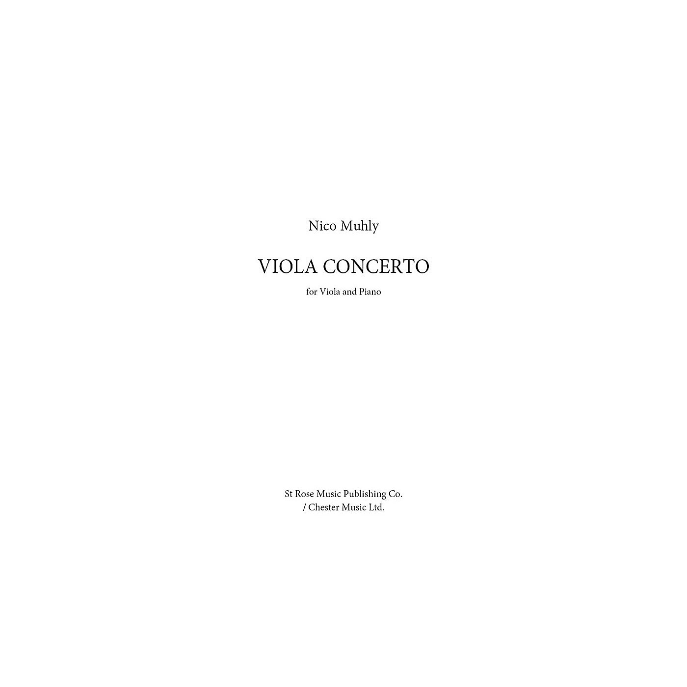St. Rose Music Publishing Co. Viola Concerto (for Viola and Piano) Music Sales America Series Softcover thumbnail