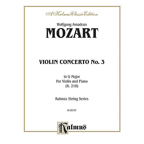 Alfred Violin Concerto No. 3 in G Major K. 216 for Violin By Wolfgang Amadeus Mozart Book thumbnail