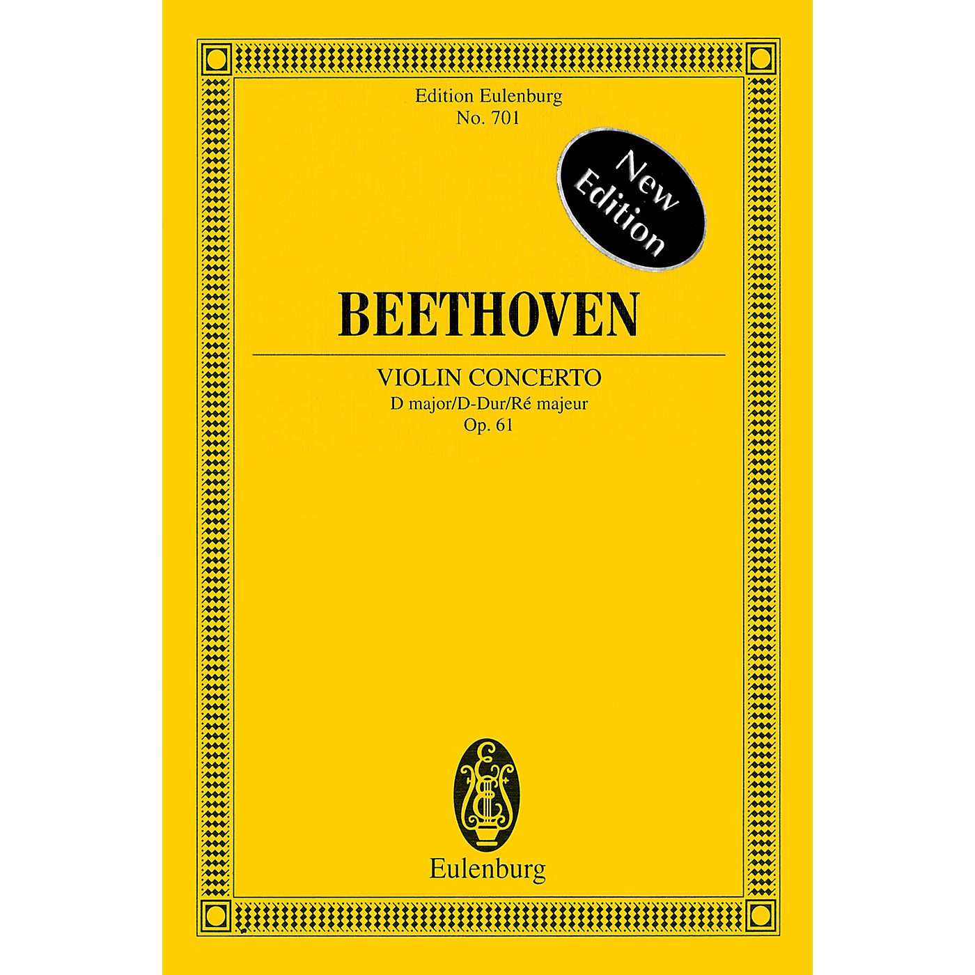 Eulenburg Violin Concerto in D Major, Op. 61 - New Edition Schott Series Softcover Composed by Ludwig van Beethoven thumbnail