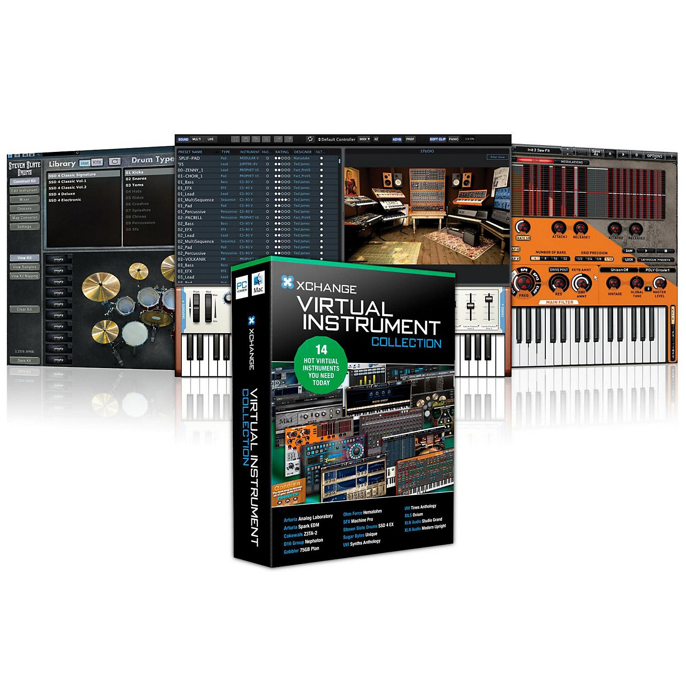 XCHANGE Virtual Instrument Collection with Arturia, Cakewalk, D16 Group, Ohm Force, Steven Slate, Sugar Bytes, and UVI thumbnail