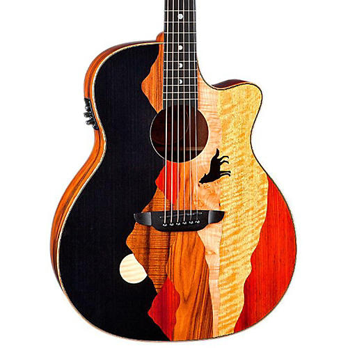 Luna Guitars Vista Wolf Cocobolo Back and Sides Acoustic Electric Guitar thumbnail