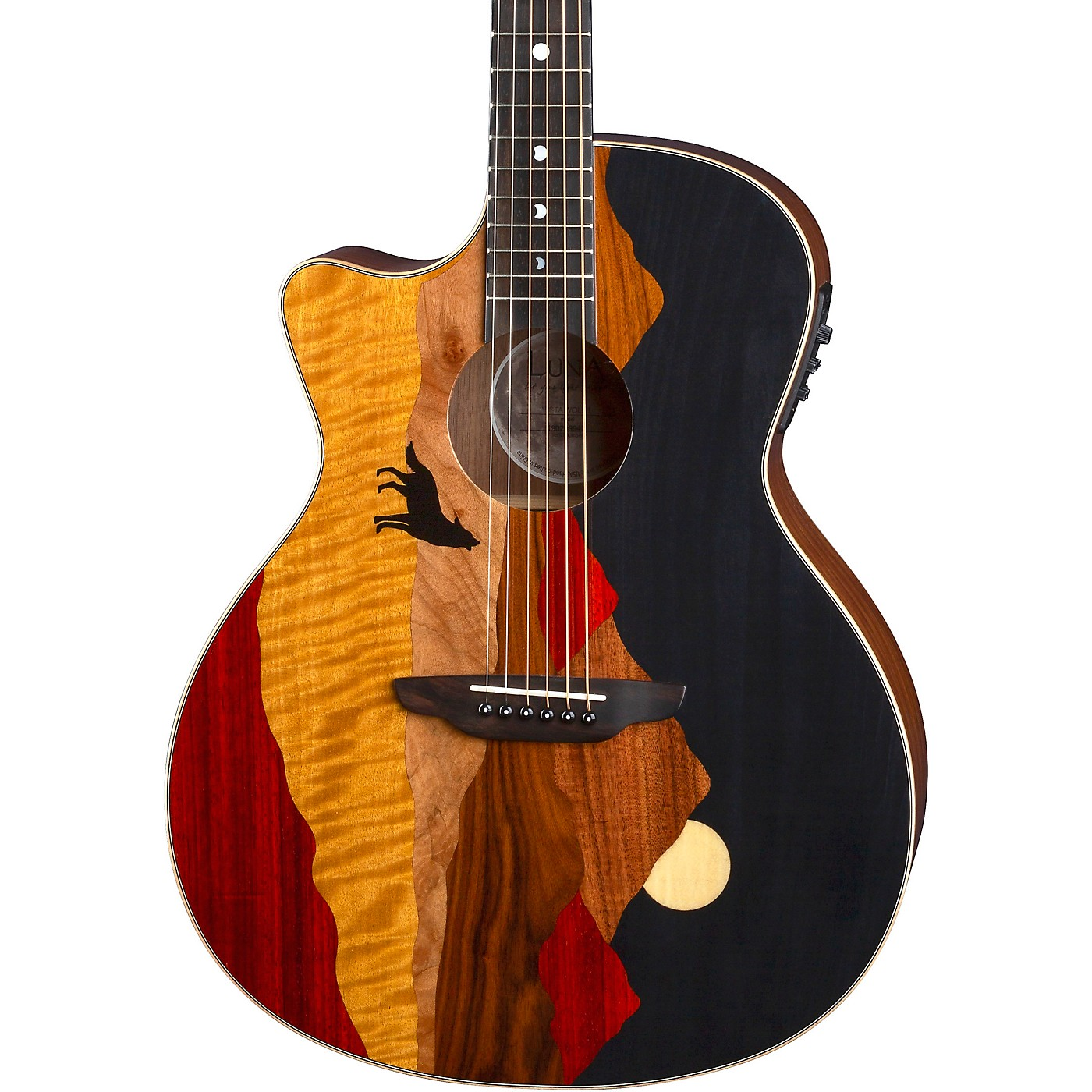 Luna Guitars Vista Wolf Tropical Wood Left-Handed Acoustic-Electric Guitar thumbnail