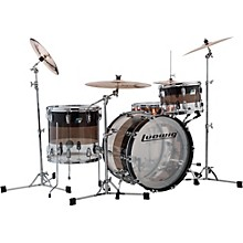 Ludwig Vistalite 45th Anniversary Tri-Band Black 3-Piece Shell Pack