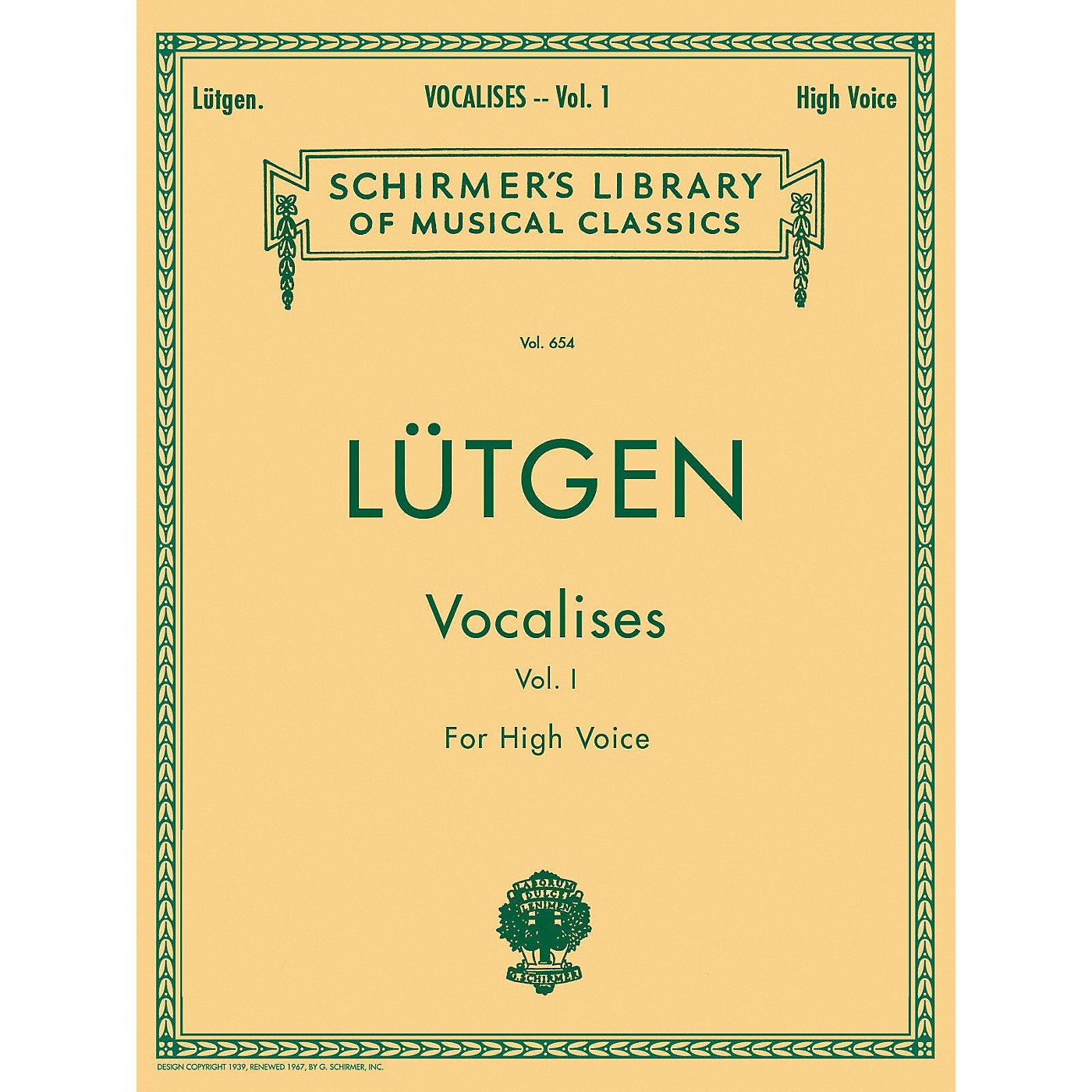 G. Schirmer Vocalises (20 Daily Exercises) - Book I for High Voice By L¼tgen thumbnail