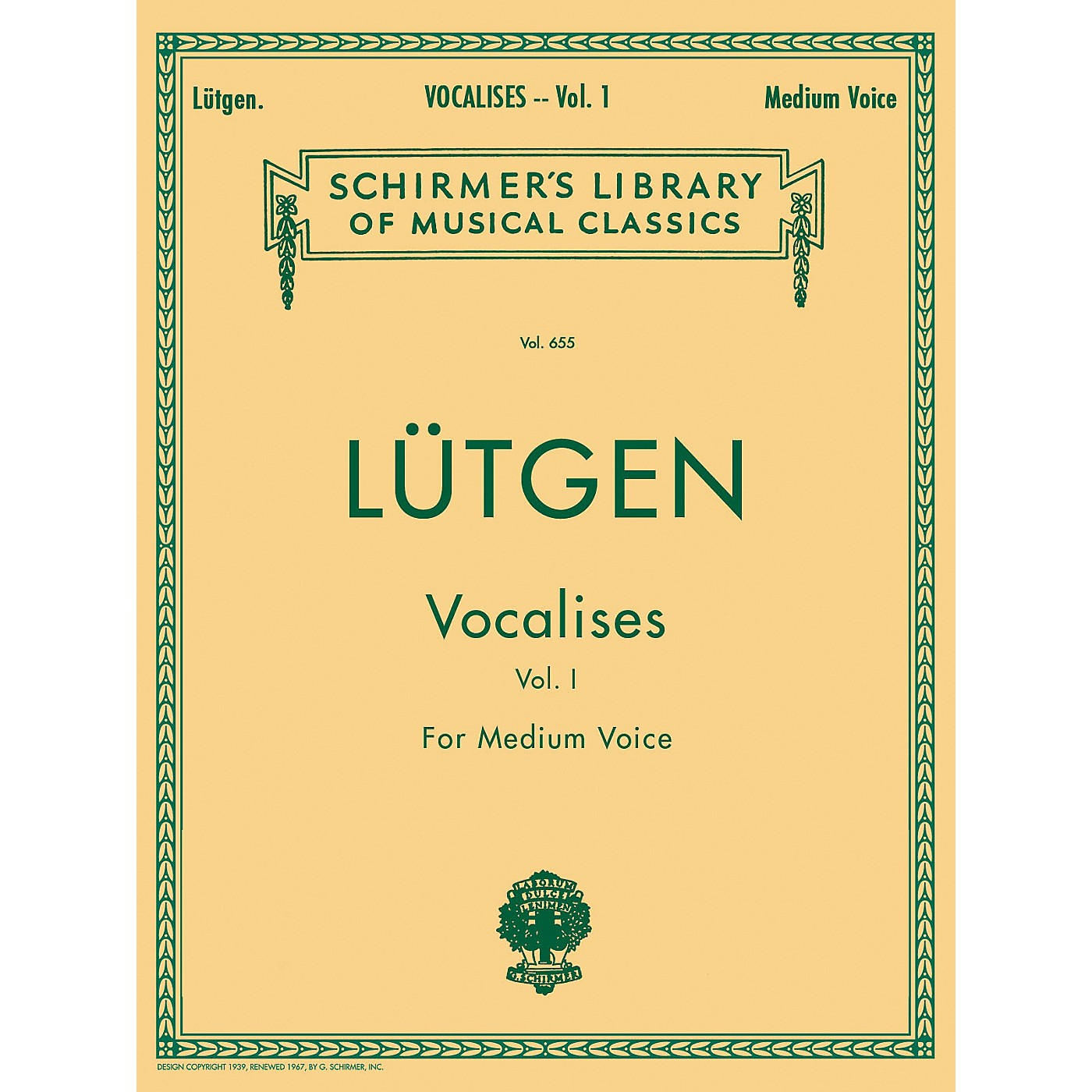 G. Schirmer Vocalises (20 Daily Exercises) Vol. 1 for Medium Voice By L¼tgen thumbnail
