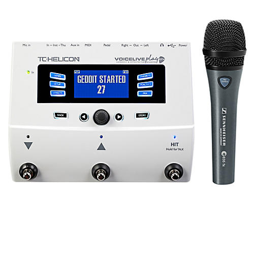 TC Helicon VoiceLive Play GTX Guitar/Vocal Harmony and Effects Pedal with Sennheiser e 835 fx Microphone thumbnail