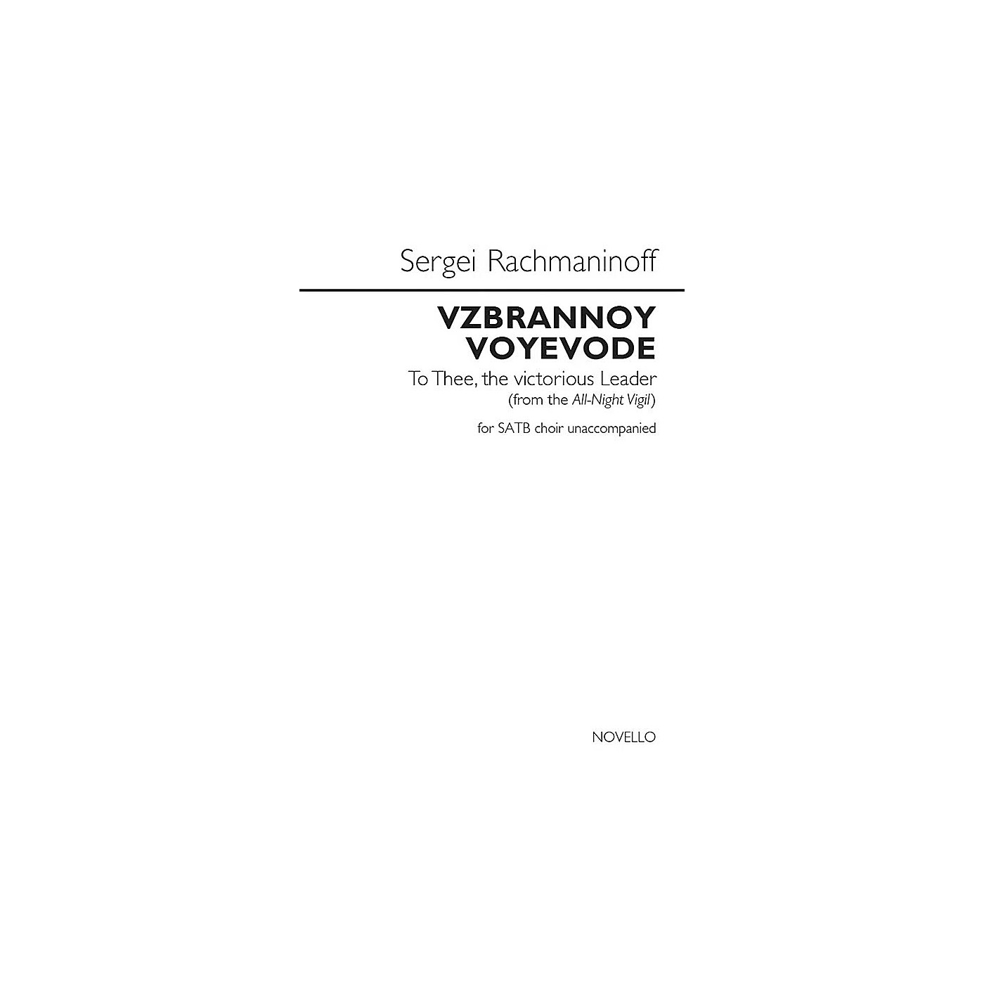 Novello Vzbrannoy Voyevode (To Thee, the Victorious Leader) SATB a cappella by Sergei Rachmaninoff thumbnail