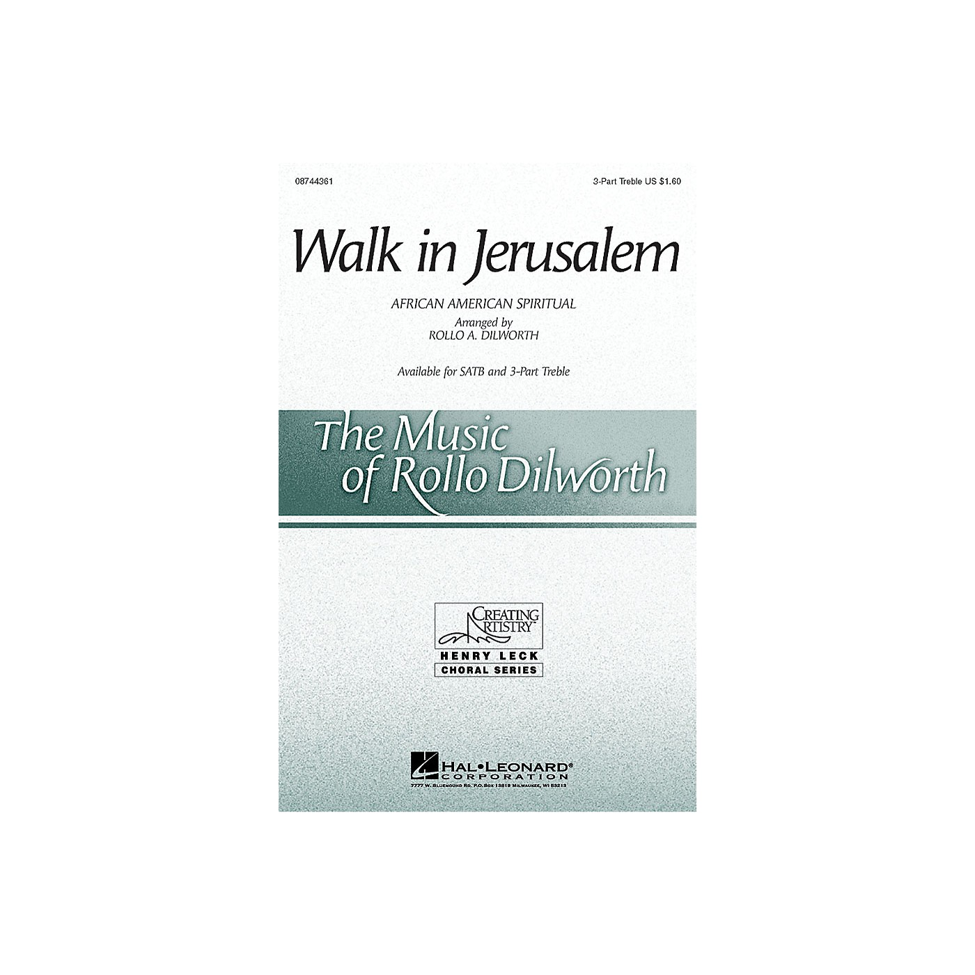 Hal Leonard Walk in Jerusalem 3 Part Treble arranged by Rollo Dilworth thumbnail