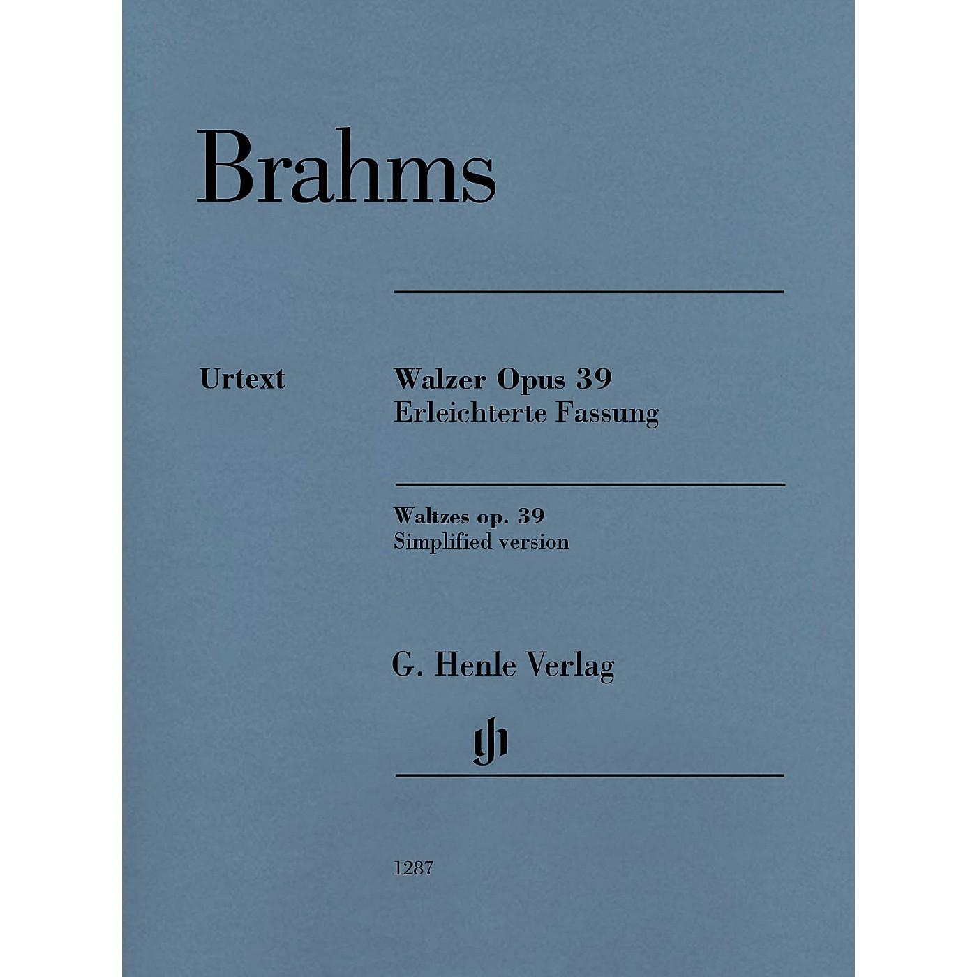 G. Henle Verlag Waltzes Op. 39 (Simplified Arrangement by Brahms) Henle Music Folios Series Softcover thumbnail