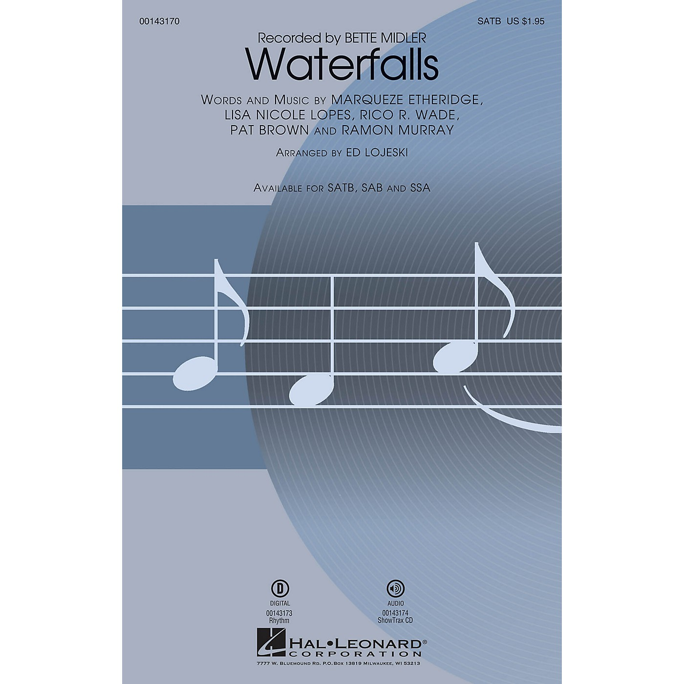Hal Leonard Waterfalls SATB by Bette Midler arranged by Ed Lojeski thumbnail