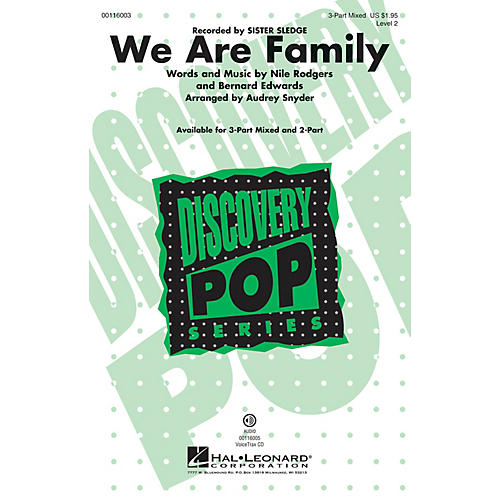 Hal Leonard We Are Family 3-Part Mixed by Sister Sledge arranged by Audrey Snyder thumbnail