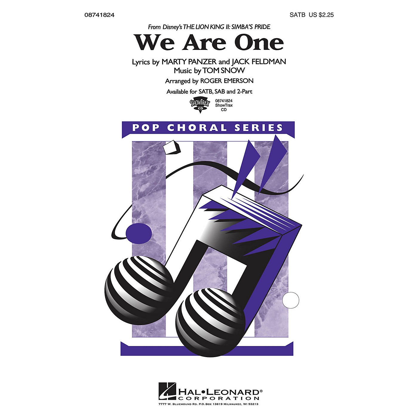 Hal Leonard We Are One (from The Lion King II: Simba's Pride) ShowTrax CD Arranged by Roger Emerson thumbnail