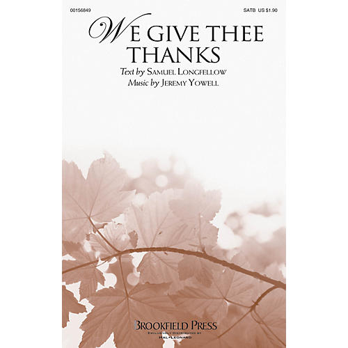 Brookfield We Give Thee Thanks SATB composed by Jeremy Yowell thumbnail