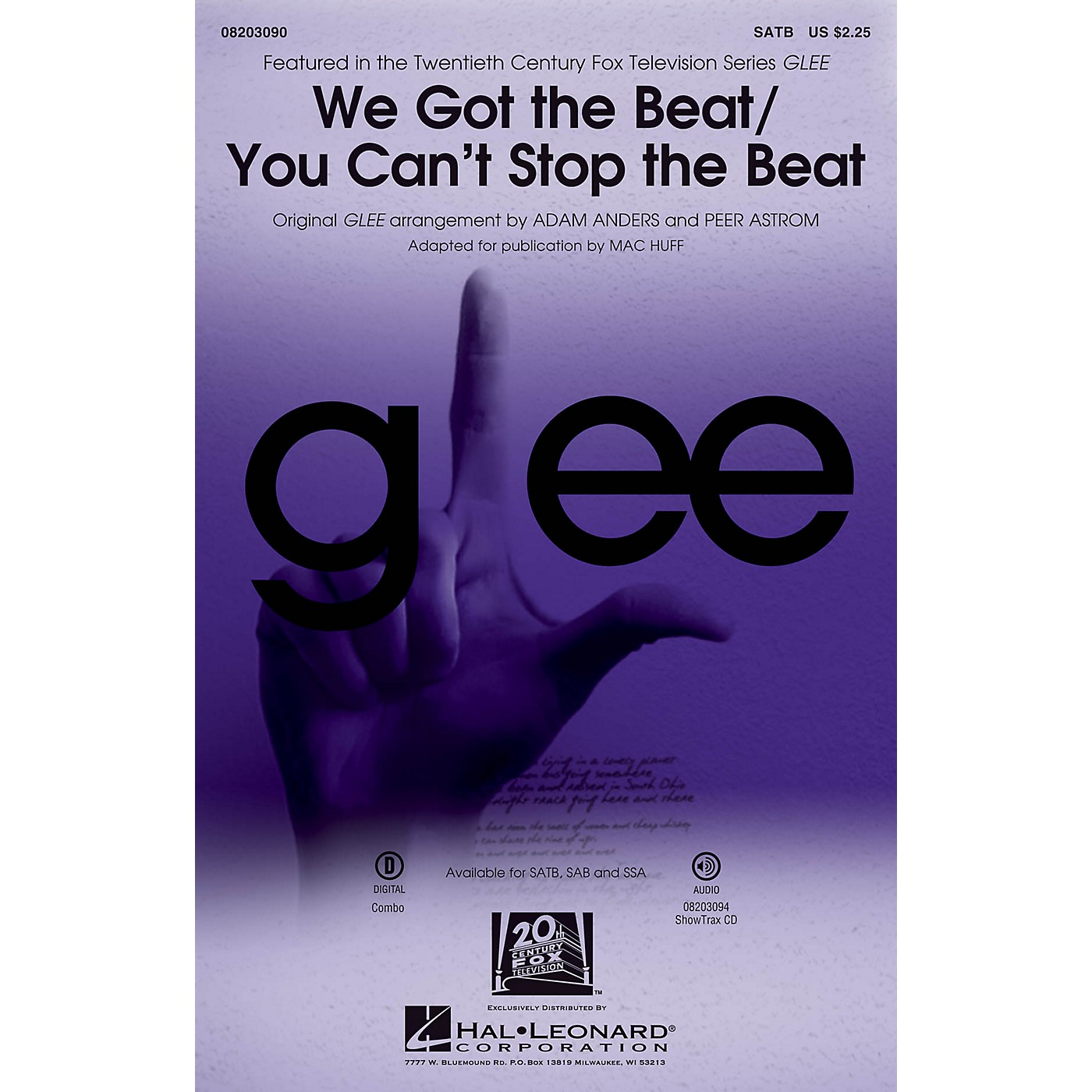 Hal Leonard We Got the Beat/You Can't Stop the Beat SATB by Glee Cast arranged by Adam Anders thumbnail