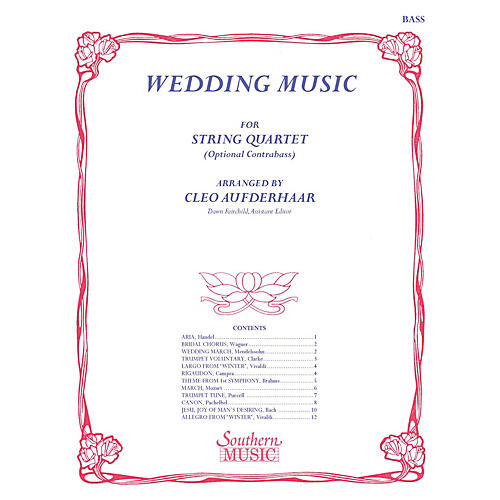 Southern Wedding Music (String Bass) Southern Music Series Arranged by Cleo Aufderhaar thumbnail