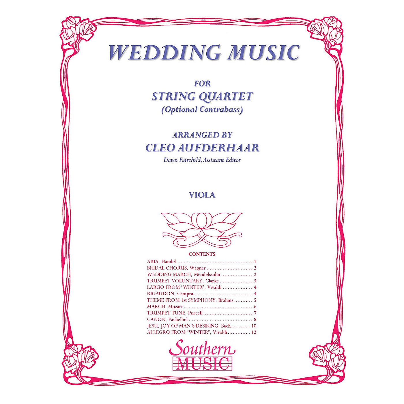 Southern Wedding Music (Viola Part) Southern Music Series Arranged by Cleo Aufderhaar thumbnail