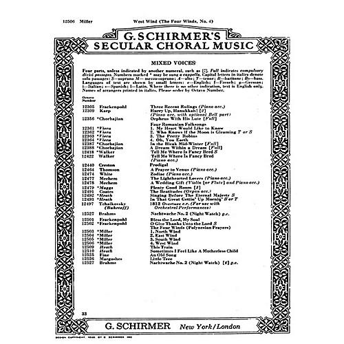 G. Schirmer West Wind 4 Winds No4 - A Cappella (Polynesian Prayers) SATB composed by D Miller thumbnail