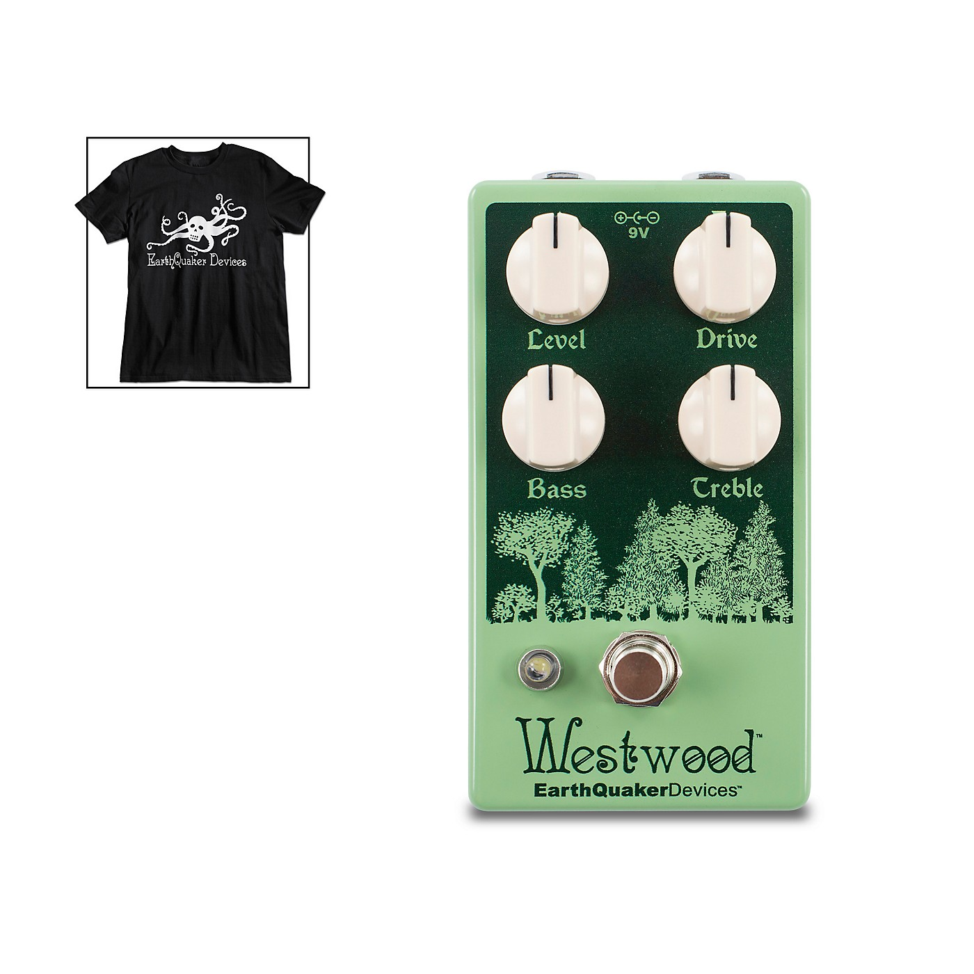 Earthquaker Devices Westwood Overdrive Effects Pedal and Octoskull T-Shirt Large Black thumbnail