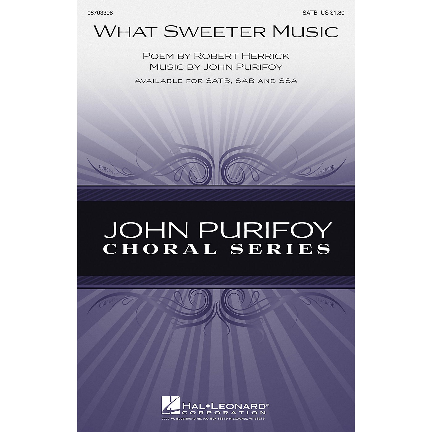 Hal Leonard What Sweeter Music SATB composed by John Purifoy thumbnail