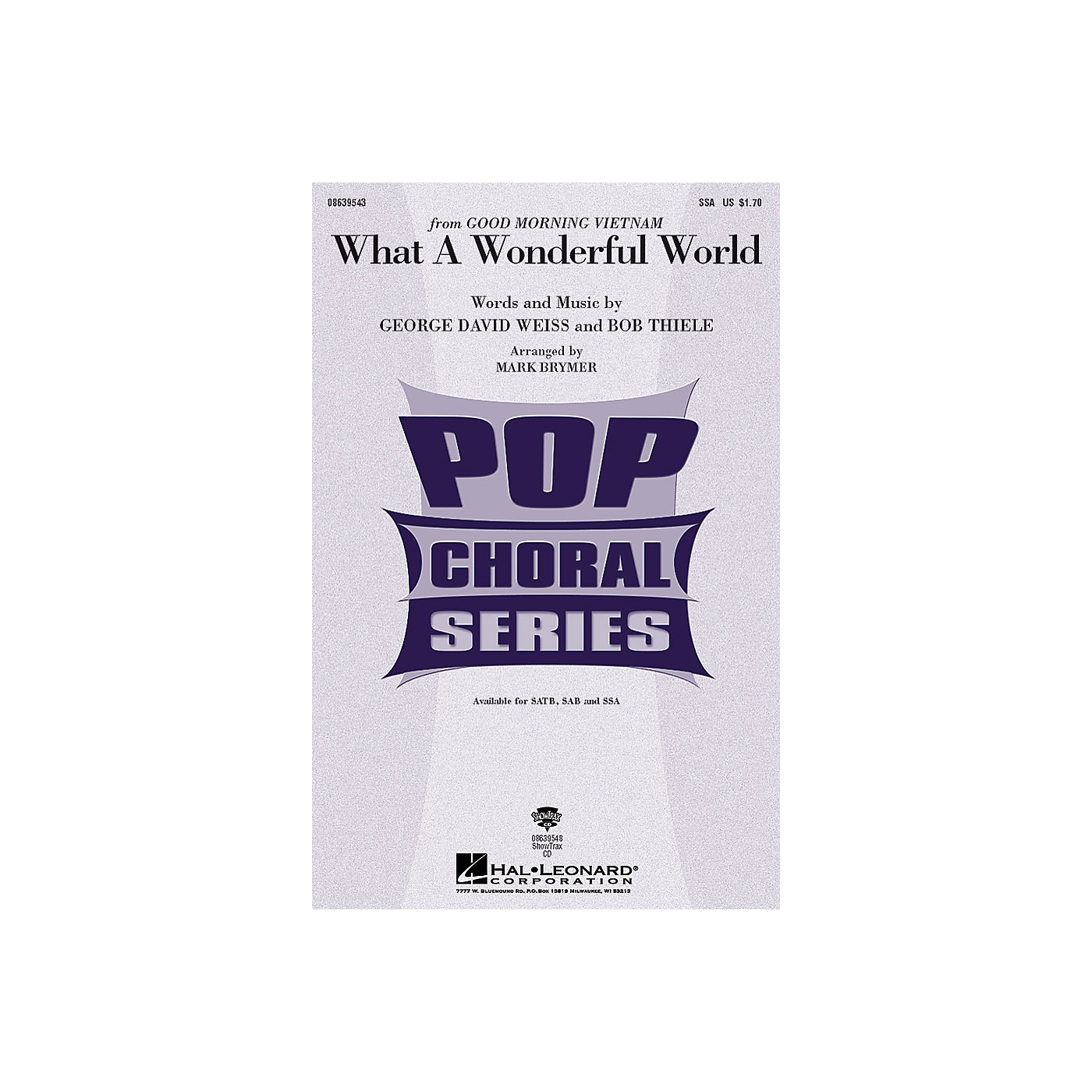Hal Leonard What a Wonderful World SSA by Louis Armstrong arranged by Mark Brymer thumbnail