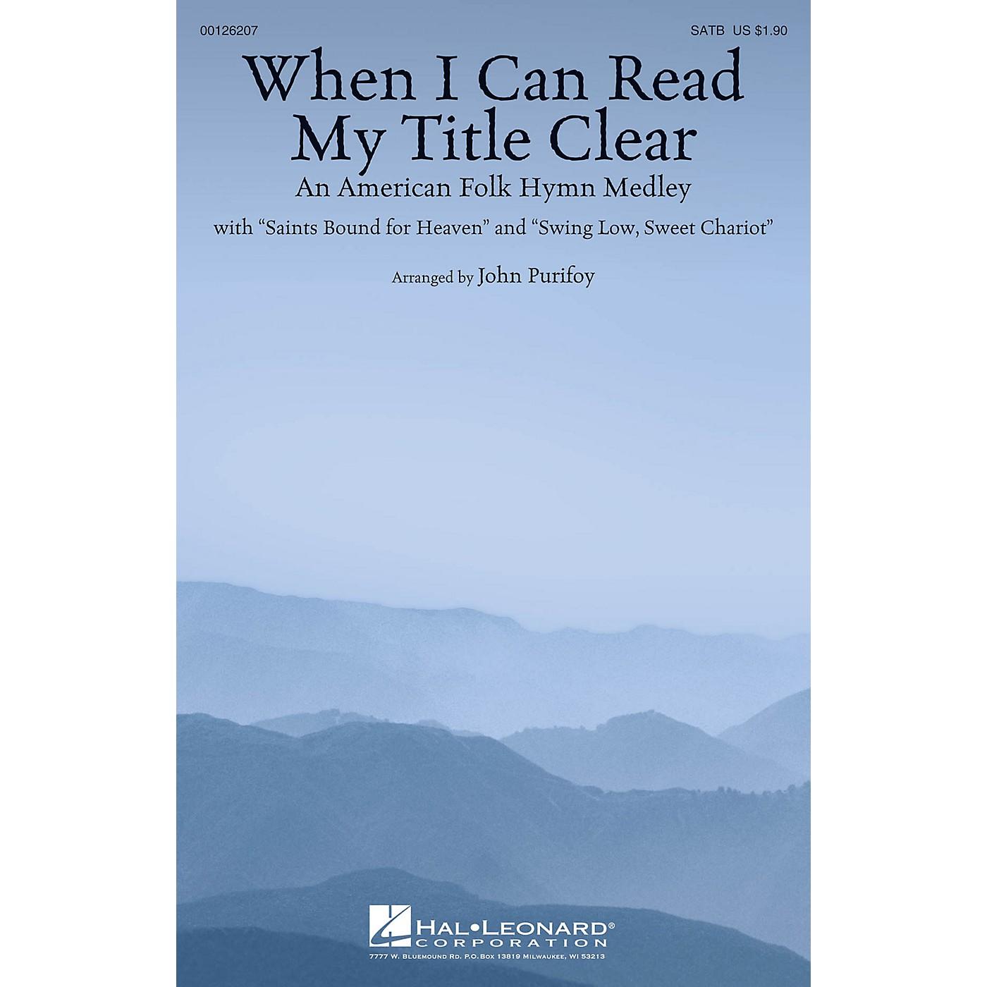 Hal Leonard When I Can Read My Title Clear (An American Folk Hymn Medley) SATB arranged by John Purifoy thumbnail