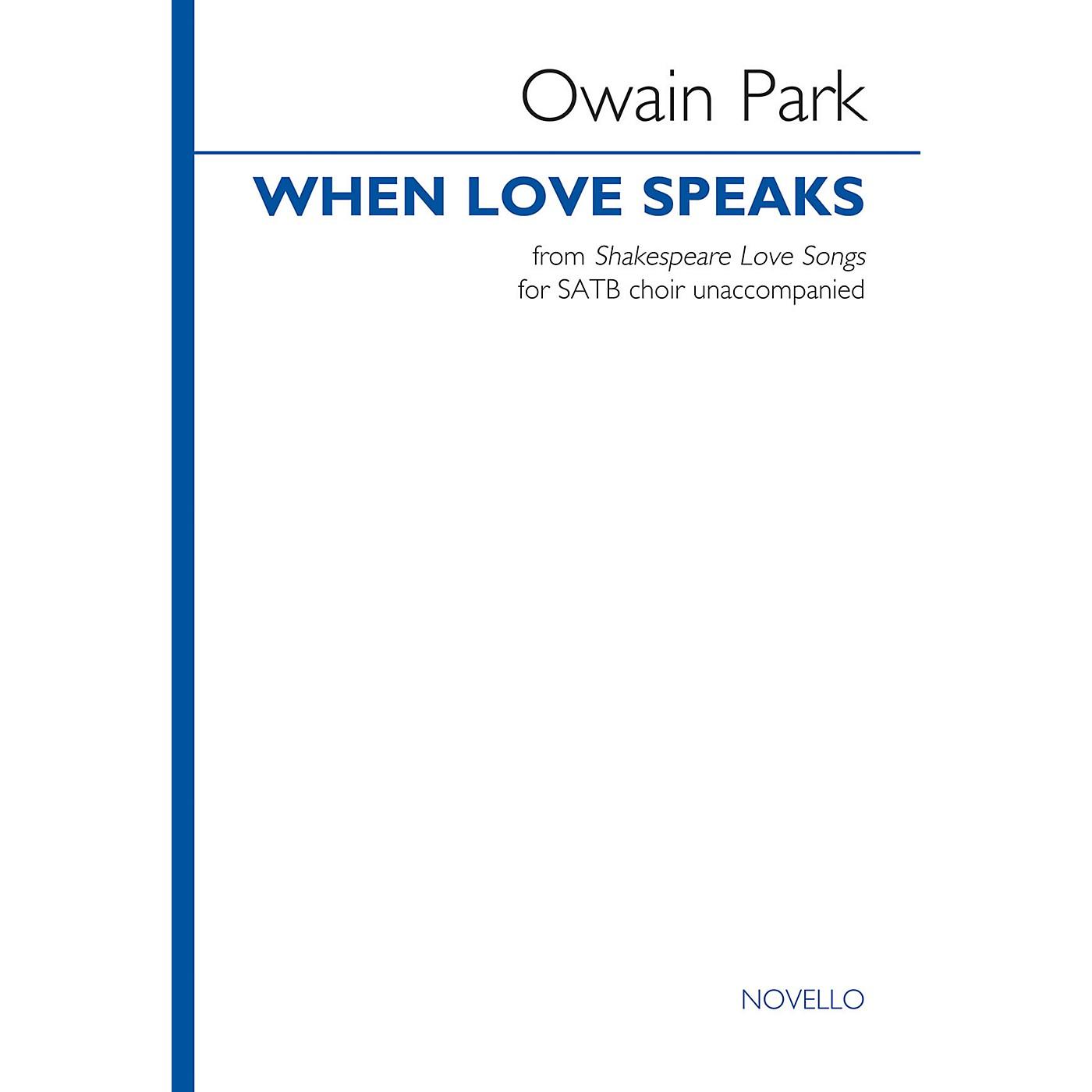 Novello When Love Speaks from Shakespeare Love Songs (SATB choir unaccompanied) SATB a cappella by Owain Park thumbnail