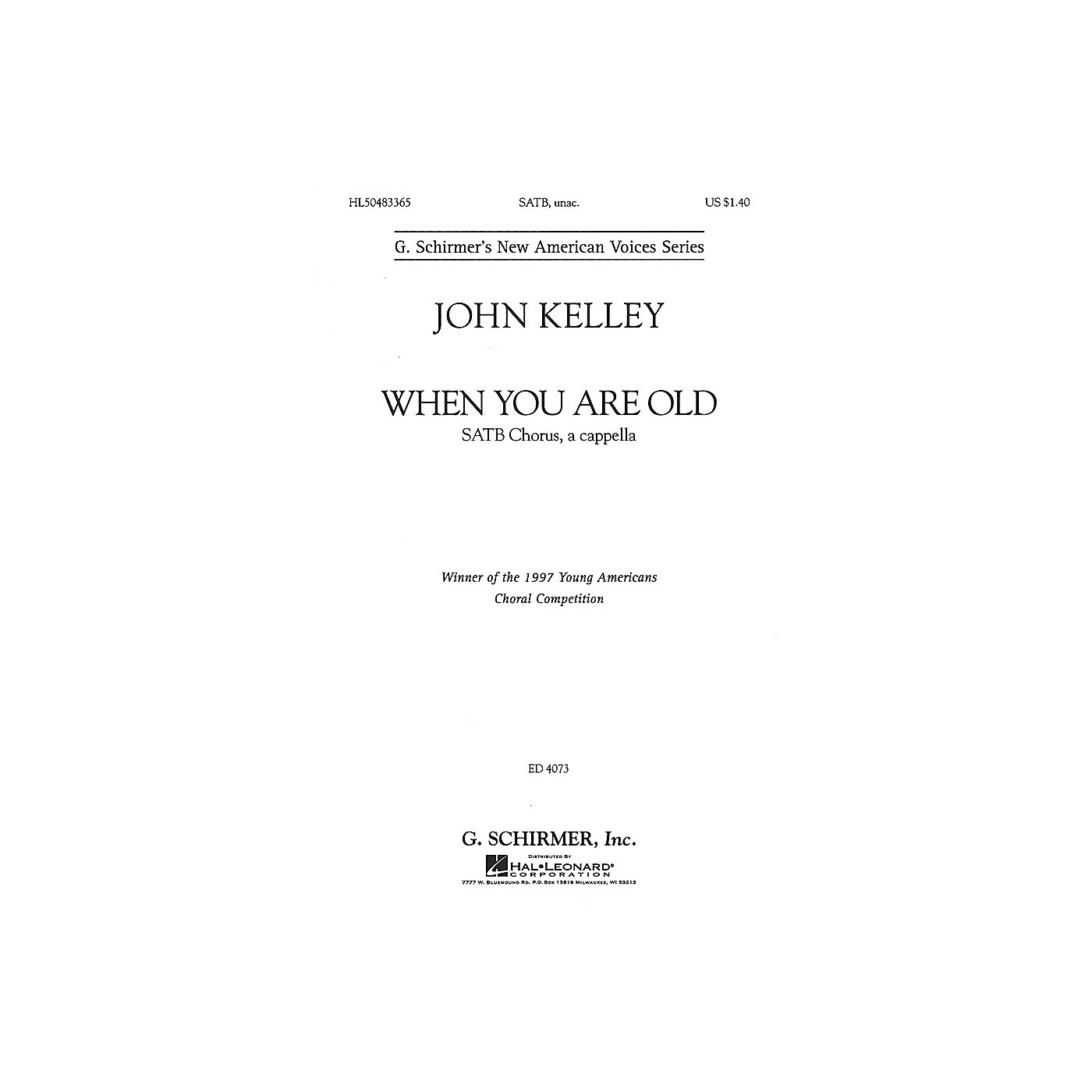 G. Schirmer When You Are Old (SSATBB a cappella) SATB DV A Cappella composed by John Kelley thumbnail