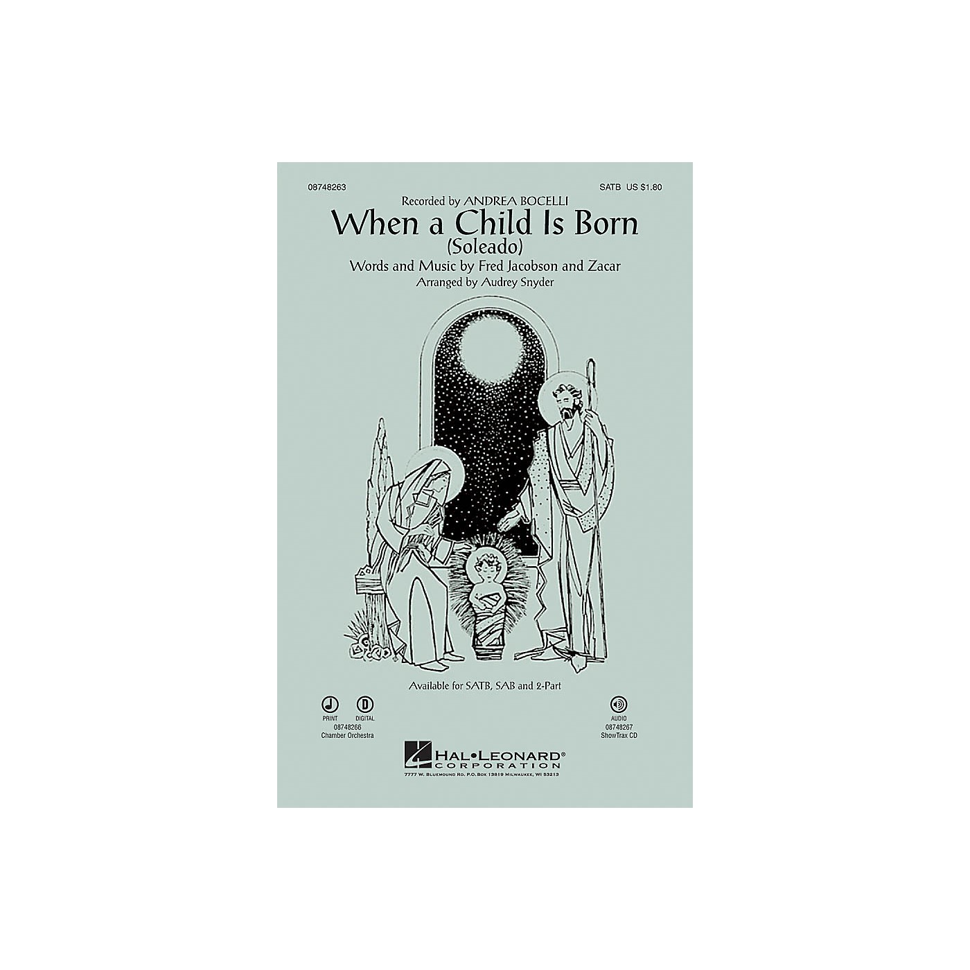 Hal Leonard When a Child Is Born (Soleado) SAB by Andrea Bocelli Arranged by Audrey Snyder thumbnail