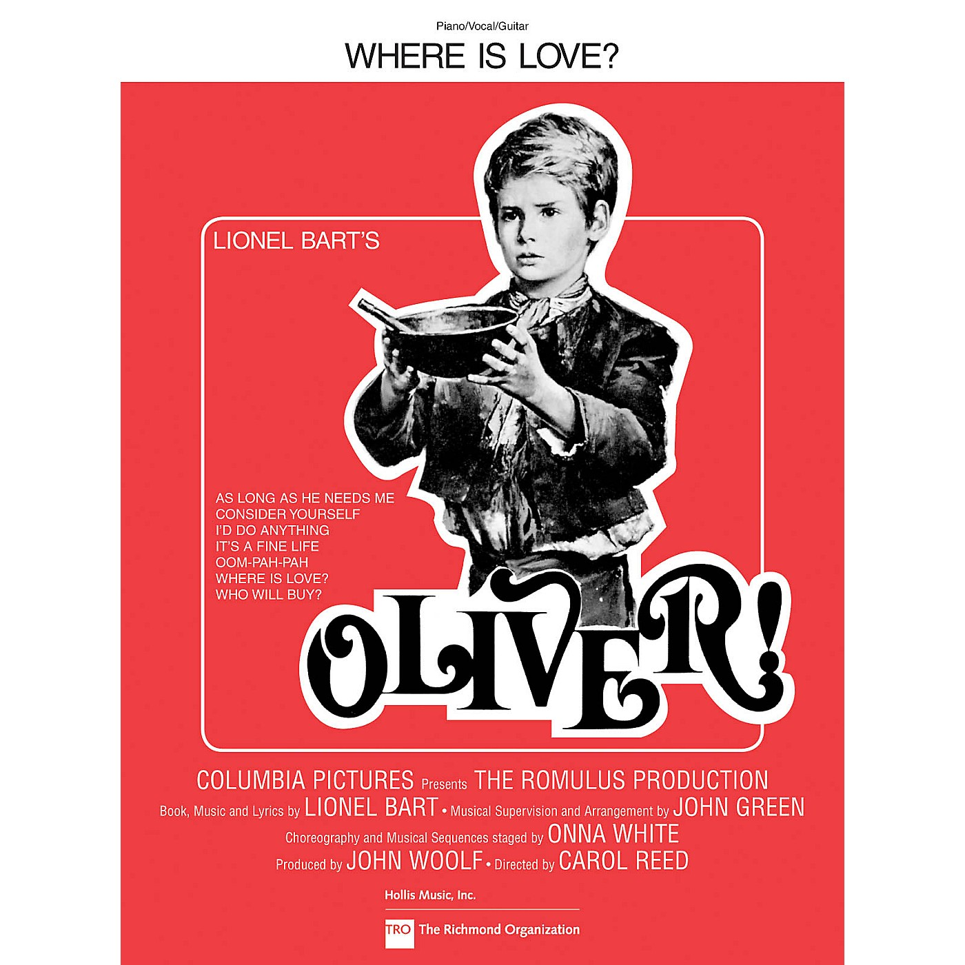 TRO ESSEX Music Group Where Is Love? (from Oliver!) Richmond Music ¯ Sheet Music Series thumbnail