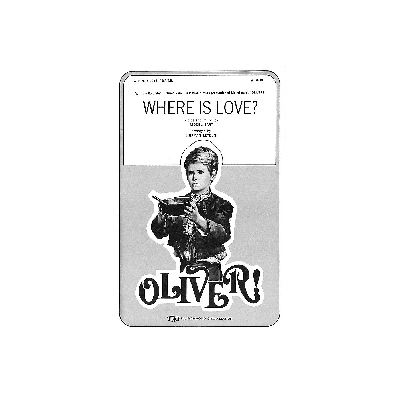 TRO ESSEX Music Group Where Is Love? (from Oliver) SSA Arranged by Norman Leyden thumbnail