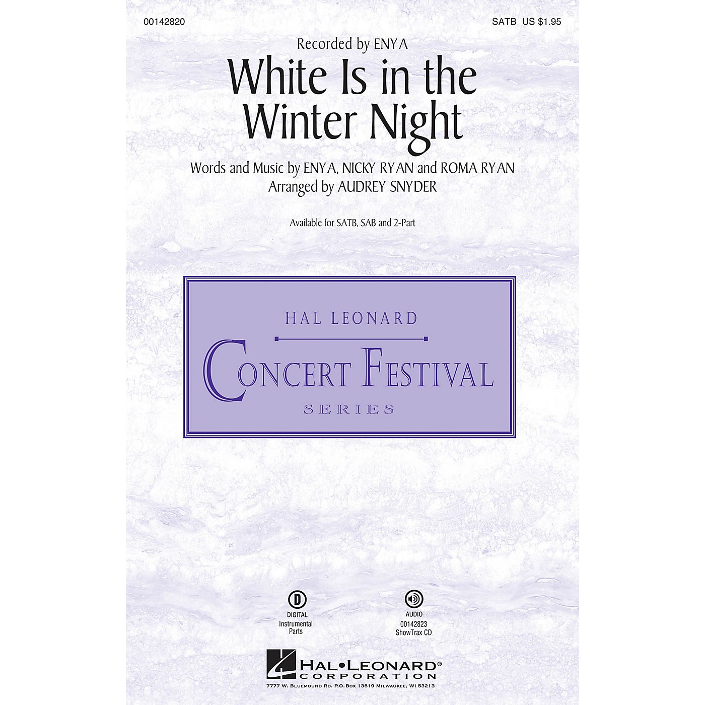 Hal Leonard White Is in the Winter Night SATB by Enya arranged by Audrey Snyder thumbnail