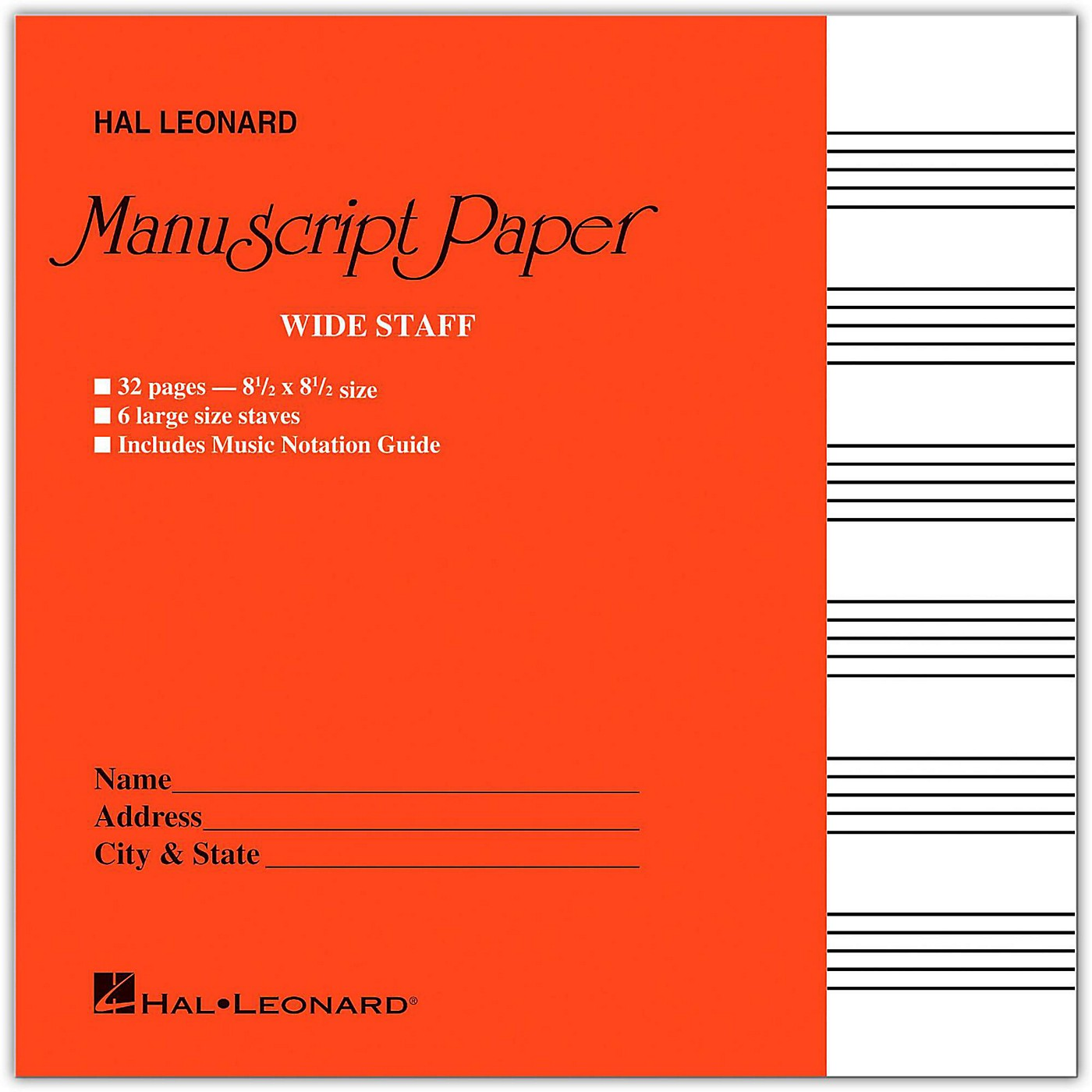 Hal Leonard Wide Staff Manuscript Paper (Red Cover) thumbnail