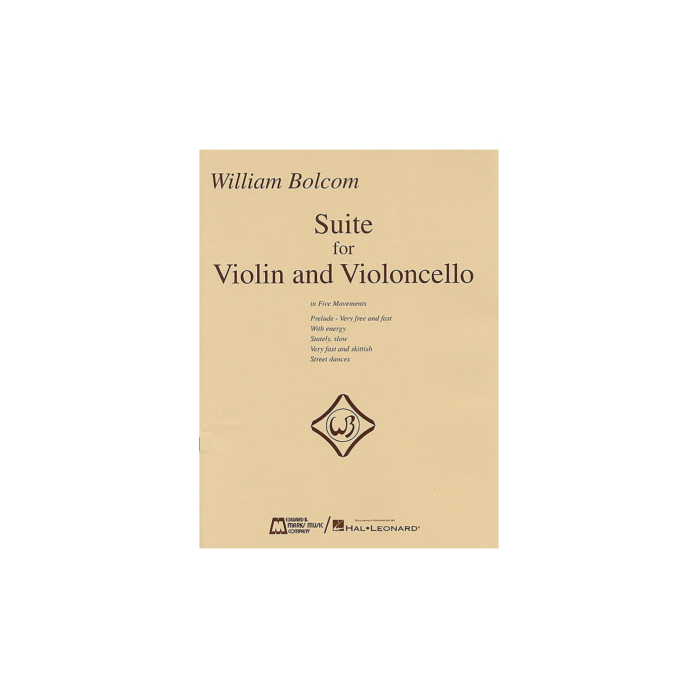 Edward B. Marks Music Company William Bolcom - Suite for Violin and Violincello E.B. Marks Series Composed by William Bolcom thumbnail