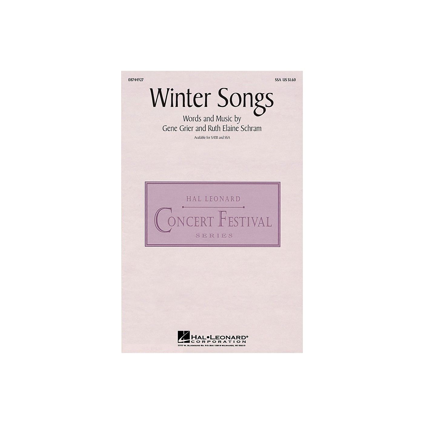 Hal Leonard Winter Songs SSA composed by Ruth Elaine Schram thumbnail
