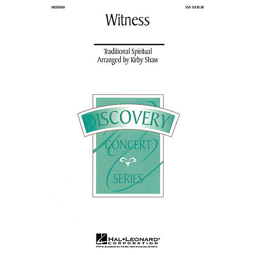Hal Leonard Witness (SSA) SSA arranged by Kirby Shaw thumbnail