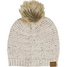 Fender Womens Leather Patch Pom Pom Beanie - Tan