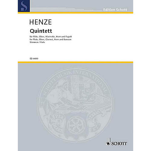 Schott Woodwind Quintet (Set of Parts) Schott Series by Hans-Werner Henze thumbnail