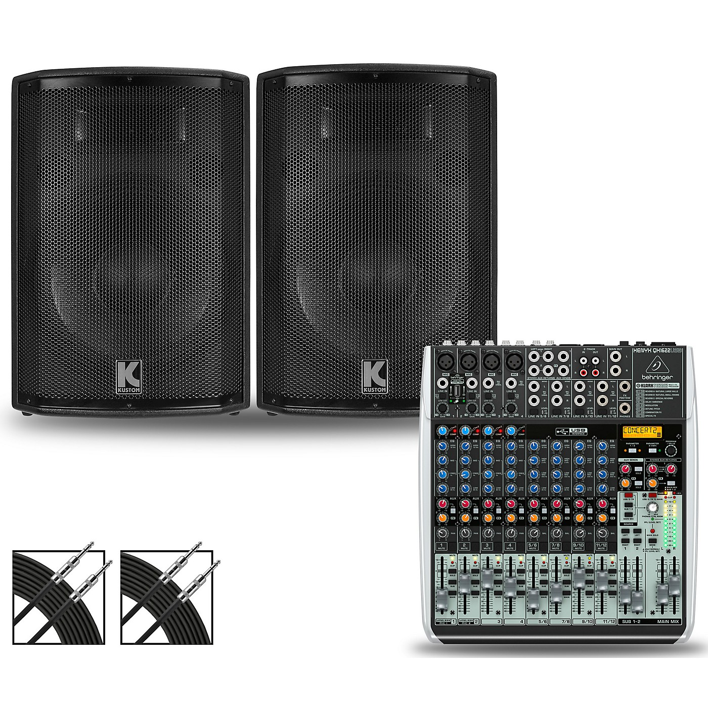 Behringer XENYX QX1622USB Mixer and Kustom HiPAC Speakers thumbnail